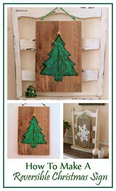 How To Make A Reversible Christmas Sign - Shoppe No 5