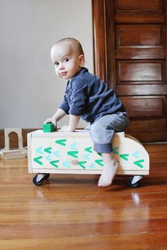 Make a vintage-inspired, ride-on wooden truck for your little one. Get the step-by-step tutorial on www.ABeautifulMess