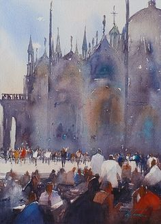 San Marco, Venice, Italy II by Keiko Tanabe Watercolor ~ 11 1/2 x 8 1/4 inches (29 x 21 cm) #watercolor jd