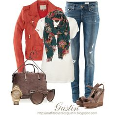 fall 2012 fashion... slubby tee w/motorcycle style jacket... slim fit jeans...leather wedge sandals... suede shoulder bag... rose gold-tone watch w/dials... brown sunglasses