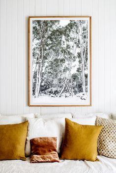 mustard yellow pillows, rust velvet, black and white interior design inspiration.