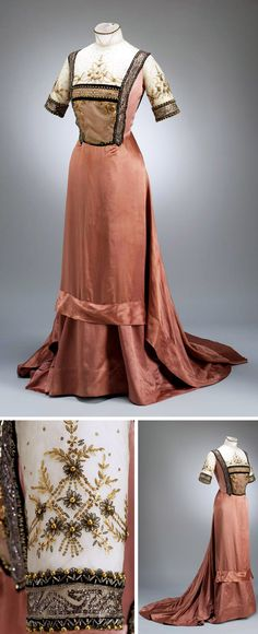 Dress, Jozsef Girardi, Budapest, 1910. Silk satin and tulle embroidered with faux pearls and gold sequins. Via Museum of Applied Arts, Budapest.