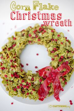 Corn Flake Christmas Wreath Recipe, great holiday neighbor gift idea.