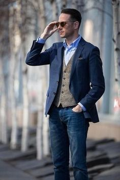Navy jacket and tweed waistcoat