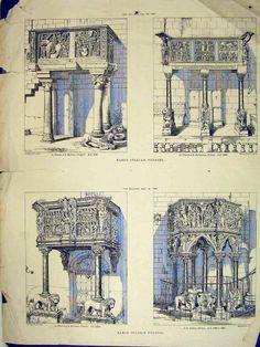 Antique Print of View Italian Pulpits 1881 Groppoli Pistoia Giovanni