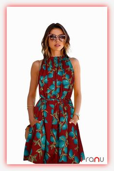6347fb522fb Floral maroon printed skater dress Western Dresses
