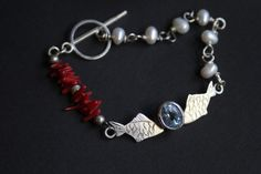https://flic.kr/p/bpRrZG | Bracelet for Kristina |  Silver, coral, pearl, blue topaz