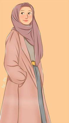 Girl Cartoon, Cartoon Art, Wallpaper Wa, Photo Wallpaper, Hijab Drawing, Doraemon Wallpapers, Hijab Cartoon, Islamic Girl, Muslim Girls