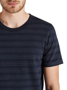 DOT PATTERNED T-SHIRT  100% Cotton, with woven dot stripe pattern