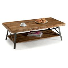 Emerald Home Chandler Cocktail Table - Reclaimed beauty meets functionality in the Emerald Home Chandler Cocktail Table. A thick slab of wood creates the table top and stretcher shelf below...