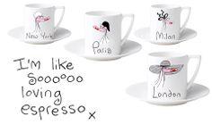 Polly Bean espresso cups Espresso Cups, Beans, London, Paris, Mugs, Tableware, Montmartre Paris, Dinnerware, Tumblers