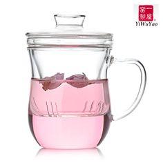 玻璃杯子一屋窑创意正品窈窕杯带盖过滤透明花茶杯361-tmall.com天猫