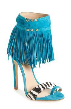 Emily B x ZiGiNY 'Taina' Fringe Sandal in Turquoise