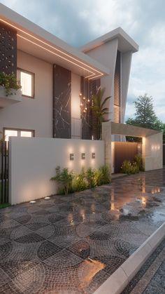 Modern House Facades, Modern Exterior House Designs, Modern Villa Design, Dream House Exterior, Modern Small House Design, Exterior Design, Modern Architecture House, Architect Design House, Bungalow House Design