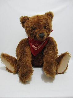 "REGINA BROCK Artist Teddy Bear Cinnamon Center Seam 22"" w Growler MINT #AllOccasion"