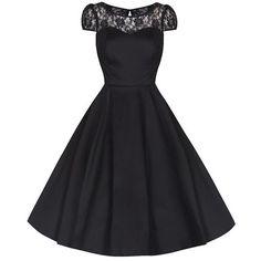 Black Lace Rockabilly Cocktail Swing Dress