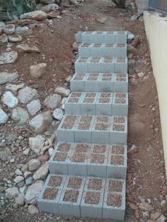 diy cinder block steps for raised garden beds Garden Stairs, Garden Beds, Garden Paths, Landscape Stairs, Sloped Yard, Sloped Backyard, Outdoor Steps, Concrete Blocks, Backyard Landscaping