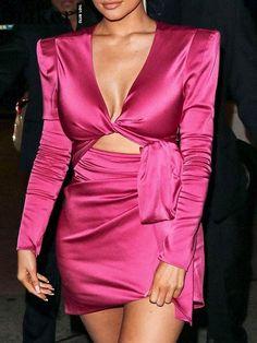 Pink Satin Dress, Pink Mini Dresses, Satin Dresses, Hot Dress, Long Sleeve Mini Dress, Celebrity Dresses, Hottest Dresses, Party, Jenners