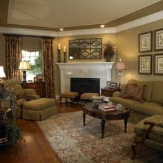 Traditional Living Room - Corner Fireplace Design, Decor and Ideas Cozy Living Rooms, Formal Living Rooms, My Living Room, Home And Living, Apartment Living, Small Living, Modern Living, Tuscan Living Rooms, Living Place