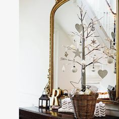 Use small branches or a tiny tree as your Christmas tree. A nice rustic touch in an interior !