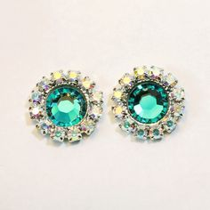 Teal Green Stud Earrings Aqua Green Studs Crystal AB by TIMATIBO
