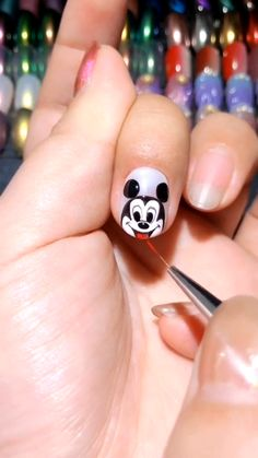 Cartoon Mickey Mouse Manicure Video Tutorial, Cool Nail Art Designs For A Fun Trendy Manicure 2019 - Nails - Nail Art Designs Videos, Nail Design Video, Simple Nail Art Designs, Nail Designs, Simple Nail Art Videos, Mickey Mouse Nail Design, Nail Art Disney, Jolie Nail Art, Mickey Mouse Nails