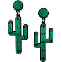Desert Cactus Earrings ($59) ❤ liked on Polyvore featuring jewelry, earrings, sparkly earrings, sparkle jewelry, emerald jewelry, earrings jewelry and emerald earrings