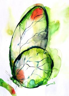 Green butterfly watercolor painting - original. Wall art for living room, gift for mom, for grandma. Water color nursery art. Watercolour picture. It is painted by me on 200 g/m2 acid free fine art watercolor paper. Dated and signed by me, without frame. Painting would be shipped