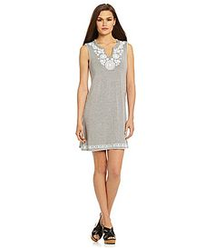 Chelsea and Theodore Splitneck Embroidered Dress #Dillards