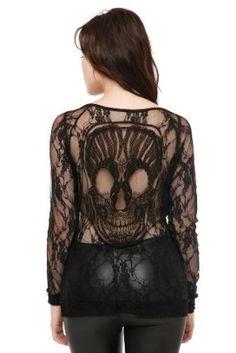 Blackheart Skull Lace Long-Sleeved Top