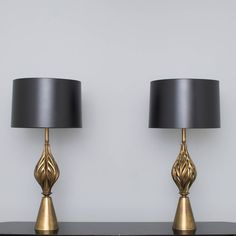 Hollywood Regency Brass Leaf Form Lamps | From a unique collection of antique and modern table lamps at https://www.1stdibs.com/furniture/lighting/table-lamps/