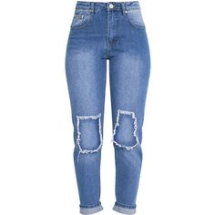 Kendall Light Wash Open Knee Rip Mom Jean ($49) ❤ liked on Polyvore featuring jeans, ripped jeans, destroyed light wash jeans, light wash jeans, destructed jeans and torn jeans