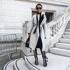 30 Perfect Looks To Copy This November #refinery29  http://www.refinery29.com/november-outfit-of-the-day-ideas#slide-17  Adding bold accessories — like lace-up heels and a thin scarf — can up the ante on any neutral look (a belted statement coat doesn't hurt, either). Chloe jacket, Givenchy bag, Tony Bianco shoes, Karen Walker sunglasses....