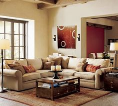 Awe-inspiring Living Room Spaces, Pictures and Ideas for Your Home : Interior Contemporary Living Room Decor Ideas With Cream Microfiber Sectional Sofa Combine Brown Wooden Table 3 Storage Drawer And Bookshelf Impressive Living Room Decoration Inspiring Barn Living, My Living Room, Living Room Furniture, Living Room Decor, Country Living, Cozy Living, Decor Room, Modern Country, Modern Rustic