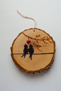 Your place to buy and sell all things handmade : Wood Tree Slice Christmas Ornament Family Birds Couple Wood Slice Crafts, Wood Burning Crafts, Wood Burning Patterns, Wood Burning Art, Wooden Crafts, Bird Christmas Ornaments, Wooden Ornaments, Christmas Wood, Christmas Crafts