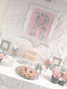 Pink + Grey Damask Baby Shower Baby Shower Party Ideas | Photo 1 of 29 | Catch My Party