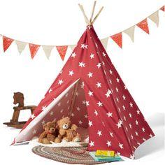 Children's Teepee Tent, Red/White Stars