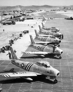 F-86 Sabres at Suwon Air Base, South Korea 1951