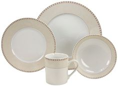 European 16 -Piece Fine Porcelain Dinnerware Set- Oxford  Decor for only $119.87