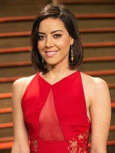 Stand-up comedian Aubrey Plaza at 2014 Vanity Fair Oscar Party...