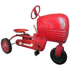 """Vintage American """"Tractor"""" Pedal Car   From a unique collection of antique and modern toys at https://www.1stdibs.com/furniture/folk-art/toys/"""