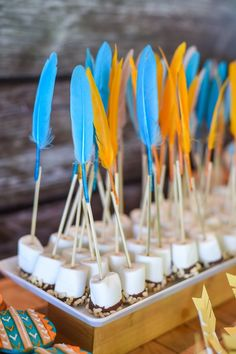 arrow pops from a Boho Tribal Birthday Party on Kara's Party Ide.Marshmallow arrow pops from a Boho Tribal Birthday Party on Kara's Party Ide. Sweet Table Details from a Camp Rafa - Pow Wow Birthday Party via Kara's Party Ideas Indian Birthday Parties, Birthday Party Celebration, 18th Birthday Party, Baby Birthday, Birthday Ideas, Baby Shower Tribal, Pocahontas Birthday Party, Pow Wow Party, Teepee Party