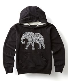 Black Abstract Elephant Hoodie