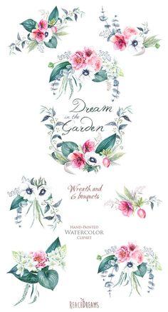 Matrimonio acquerello corona & mazzi di fiori fiori di ReachDreams