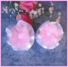 Appliques fleurs double en satin chiffon rose demi perle mariage : Accessoires à accrocher par orkan28