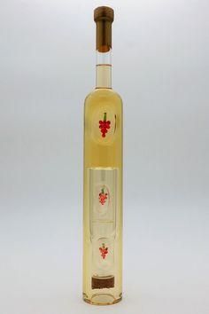 """Weinflasche langgestreckt mit Qualitätswein """"Furmint"""" und innenliegenden Trinkgläsern Vodka Bottle, Corks, Wine, Drinking"""