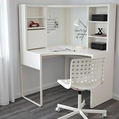 Lovely study table design ideas that will motivate you Ikea Corner Desk, White Corner Desk, Small Corner Desk, Small Study Table, Corner Workstation, Study Corner, Ikea Desk, Ikea Study Table, Corner Office Desk