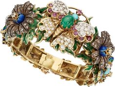 Multi-Stone, Diamond, Seed Pearl, Enamel, Gold, Silver-Topped Gold Bracelet