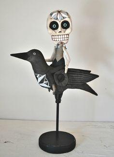Day of the Dead Sugar Skull Bird Crow Doll Sculpture-- Original Hand Painted Folk Art Skeleton OOAK.