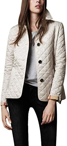 New Flygo Women S Diamond Quilted Jacket Stand Collar Button